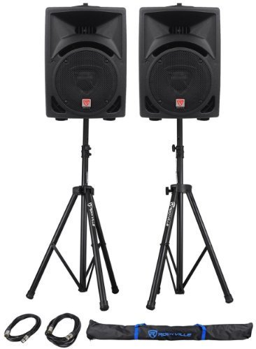 """Package: (2) Rockville RPG8 800 Watt 2-Way DJ/PA Powered Speakers With an 8"""" Woofer and a 2"""" Voice Coil + Rockville RVSS2-XLR Pair of Adjustable Pro Speaker Stands + (2) XLR Male to Female Cables + Carrying Case"""