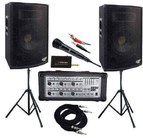 Pyle KTDM1579 1600 Watt Complete DJ Speaker System - 15'' Two-Way Powered Mixer/Stands/MIC/Cables