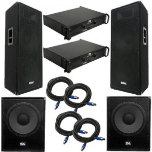 "Seismic Audio - FL-155PPKG2 - Pair of Premium Dual 15"" PA Speakers, Pair of 18"" Enforcer Subs, 2 Amplifiers, and Cable Package - PA/DJ Package"