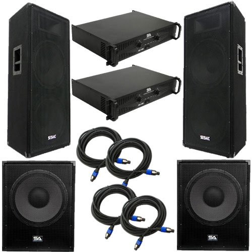 """Seismic Audio - FL-155PPKG2 - Pair of Premium Dual 15"""" PA Speakers, Pair of 18"""" Enforcer Subs, 2 Amplifiers, and Cable Package - PA/DJ Package"""