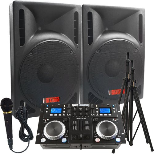 "The Ultimate DJ System - 2400 WATTS! Perfect for Weddings or School Dances - Connect your Laptop, iPod or play CD's! - 15"" High Output Powered Speakers - Everything you need to DJ. Start booking your gigs today!"