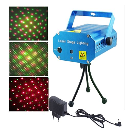 Mini Mixed Red&Green Stage Lighting Projector Spotlight Sound/ Music Active DJ Equipment for Disco Lights Club Party-Blue