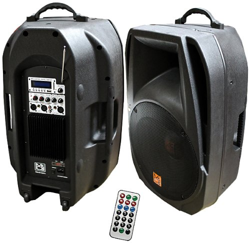 Mr. Dj PM-4015BT 15-Inch 3000 Watts Max Power Speaker with Built-In Bluetooth LCD Amplifier/FM Radio/ MP3/USB/SD Card Slot