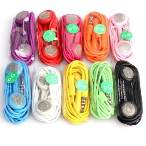 Generic Wired Headsets for iPhones, iPad, iPad Mini, iPod Touch, iPod - Non-Retail Packaging - 10 Color