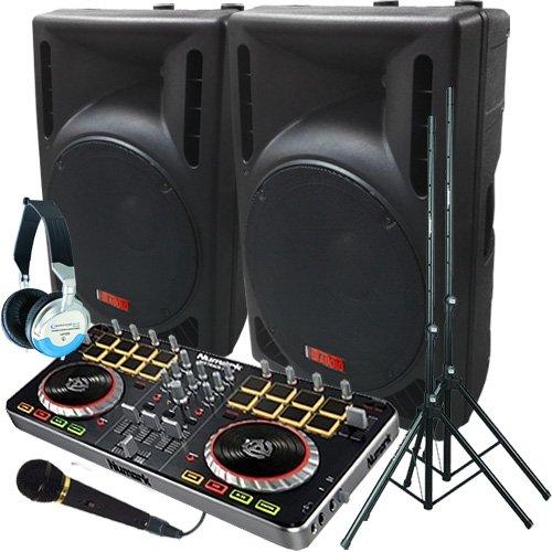 Serato Software DJ System - Numark MixTrack Pro II - A pair of 1200 Watt Powered DJ Speakers w/Stands, Microphone, Headphones and Serato DJ Software