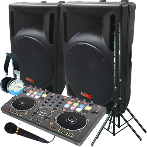 Serato Software Digital DJ System - Gemini Slate Controller - A pair of 1200 Watt Powered DJ Speakers w/Stands, Microphone, Headphones and Serato DJ Software