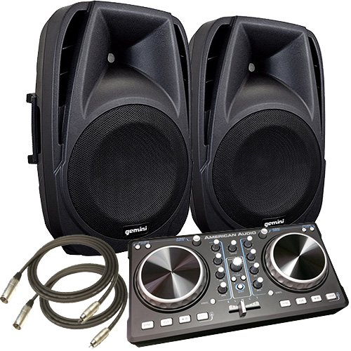 "1200 WATT - American DJ Starter Computer DJ System - with Virtual Dj Software, ADJ Controller and Two 12"" Powered Speakers"