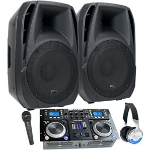 "DJ System - Connect your Laptop, iPod, USB, MP3's or Cd's! Powered 15"" Speakers, Mixer/Cd Player, Mic, Headphones."