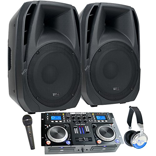 """DJ System - Connect your Laptop, iPod, USB, MP3's or Cd's! Powered 15"""" Speakers, Mixer/Cd Player, Mic, Headphones."""