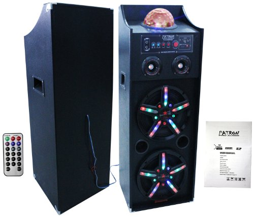 PATRON PRO AUDIO PLS-4200BTPK Dual 10-Inch Speaker System with FM/SD/USB Reader Built-In Bluetooth Package
