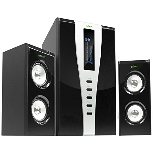Arion Legacy AR508LR-BK 2.1 Channel Speaker System with Subwoofer & Remote for MP3, CD, PC, Video Game Consoles, & Home Audio Systems - Black, 140 Watts