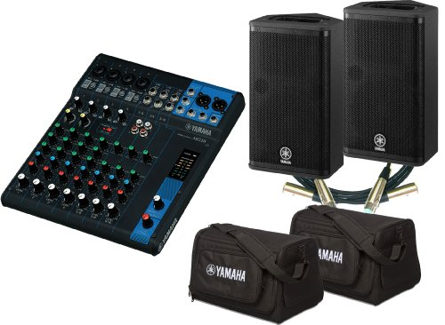 Yamaha MG10 10-Channel Mixing Console with Built-In FX Bundle with 2 Yamaha DXR8 Powered Speakers, 2 DXR8 Bags and 2 Conquest Sound S2B 10' High Definition Cables