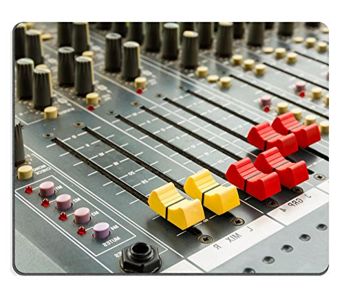 Luxlady Mousepads Closeup on red and yellow sliders of sound mixing console in audio recording IMAGE 23485205 Customized Art Desktop Laptop Gaming mouse Pad