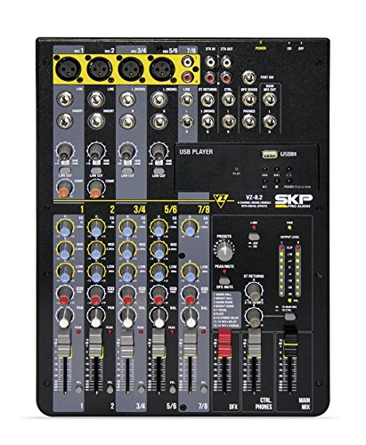 SKP PRO AUDIO VZ-8.2 Mixing and Recording Console up to 8 channels Lightweight Series USB Port, Mp3 Player
