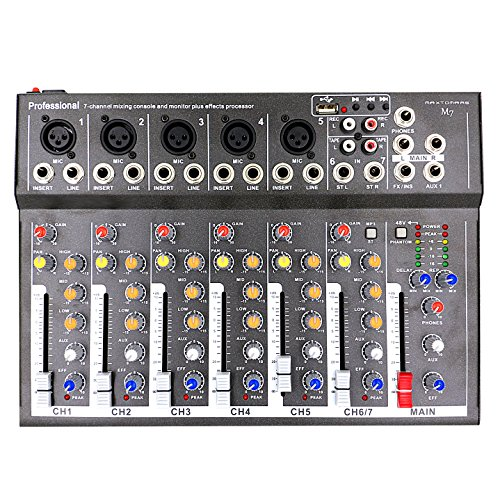 MAXTOMARS M7 7-Channel Mixer with USB Input Mic-Line Audio Mixing Console
