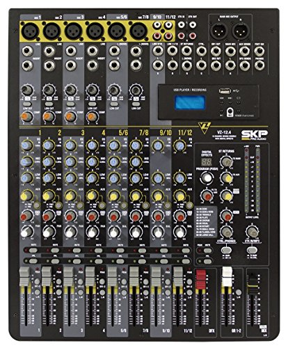SKP PRO Audio VZ-12.4 Mixing and Recording Console up to 12 channels Lightweight Series USB Port, Mp3 Player