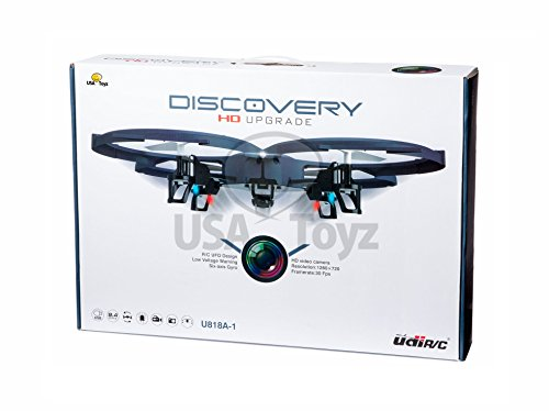 UDI U818A - 1 Discovery - *UPDATED Drone with Camera (HD) - 2.4GHz 4 CH 6 Axis Gyro RC Quadcopter with HD Camera RTF Includes BONUS BATTERY (*Doubles Flying Time*)