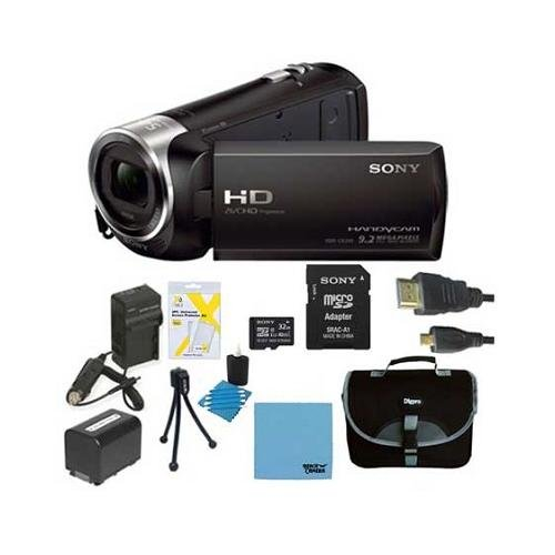 Sony HD Video Recording HDRCX405 Handycam Camcorder - Black Ultimate Bundle with 32GB High Speed Micro SD Card, Spare Battery, AC/DC Charger, Table top Tripod, Padded Case, Micro HDMI Cable, LCD Screen Protectors, Cleaning Cloth, Lens Cleaning Kit