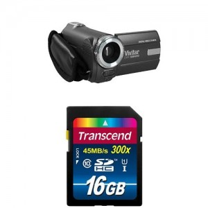 Vivitar 12 MP Digital Camcorder with 4X Digital Zoom Video Camera with 1.8-Inch LCD Screen, Black (DVR508) w/ Memory Card
