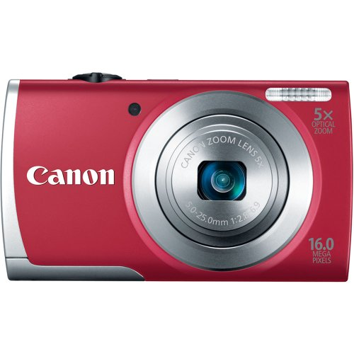 Canon PowerShot A2500 16MP Digital Camera with 5x Optical Image Stabilized Zoom with 2.7-Inch LCD (Red)