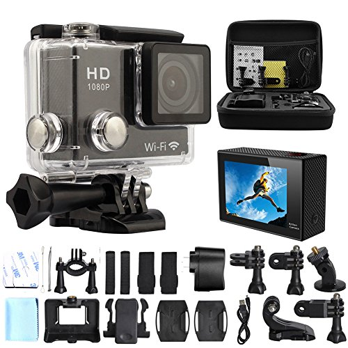 GeekPro® 2.0'' WIFI HD 1080P Sports Camera Black 12MP + Medium Shockproof Carrying Bag + 8G SD Card Waterproof Action DV Camcorder 140 degree Wide Angle Car DVR Recorder Diving, Skating,Underwater HDMI Output