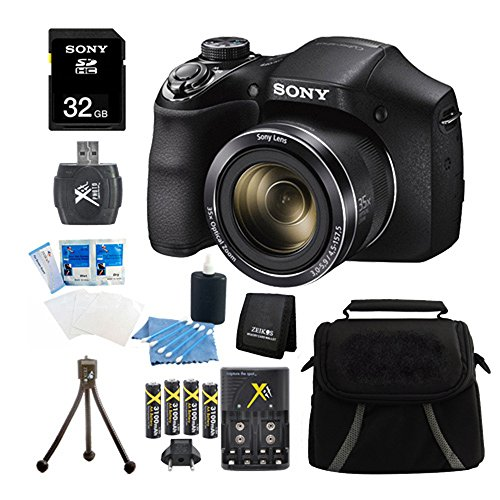 Sony DSC-H300/B DSCH300 H300 H300B DSCH300/B Digital Camera (Black) Bundle with High Speed 32GB High Speed Card, Rechargeable AA Batteries and AC/DC Charger, SD Card Reader, Table Top Tripod, LCD Screen Protectors, Padded Case, Memory Wallet+ More