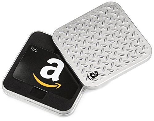 Amazon.com Diamond Plate Gift Card Tin - $50, Black Card