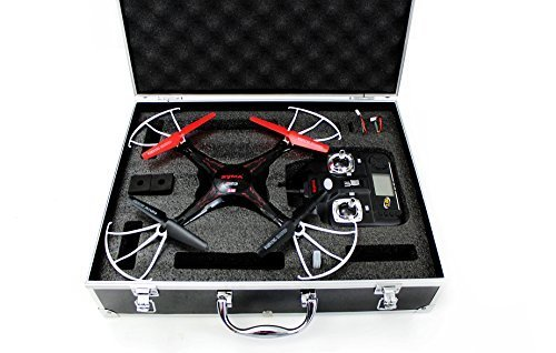 Syma X5C quadcopter drone black bundle with Carrying case and extra batteries newest 2015 version