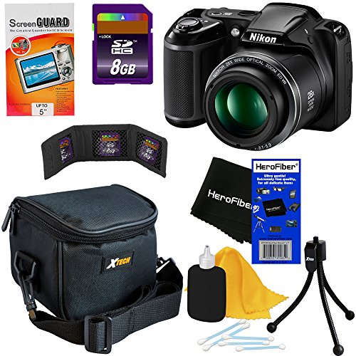 Nikon COOLPIX L340 20.2 MP Digital Camera with 28x Zoom NIKKOR Lens & Full HD 720p Video Recording - Black (Import) + 7pc Bundle 8GB Accessory Kit w/ HeroFiber® Ultra Gentle Cleaning Cloth