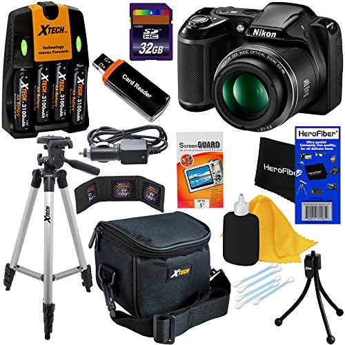 Nikon COOLPIX L340 20.2 MP Digital Camera with 28x Zoom NIKKOR Lens & Full HD 720p Video Recording - Black (Import) + 4 AA High Capacity Batteries with Quick Charger + 9pc Bundle 32GB Deluxe Accessory Kit w/ HeroFiber® Ultra Gentle Cleaning Cloth