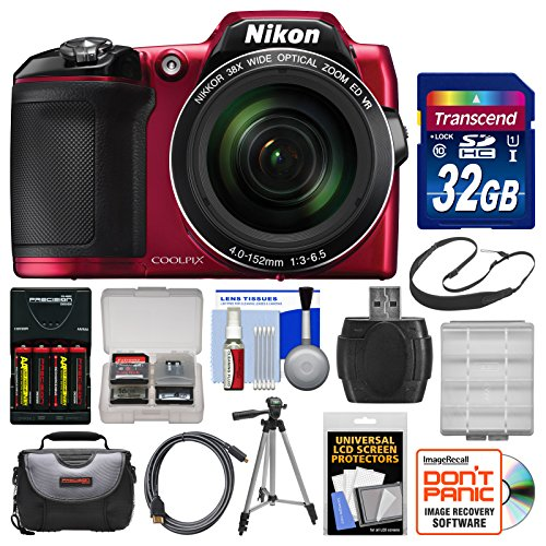 Nikon Coolpix L840 Wi-Fi Digital Camera (Red) with 32GB Card + Case + Batteries & Charger + Tripod + Strap + Kit