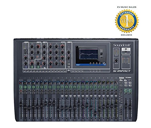 Soundcraft Si impact 40-input Digital Mixing Console and 32-in/32-out USB Interface and iPad Control with 1 Year Free Extended Warranty