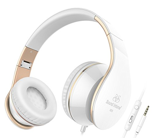 Headphones, Sound Intone I65 Headphones with Microphone and Volume Control for Travel, Work, Sport , Foldable Headset for Iphone and Android Devices(White/gold)