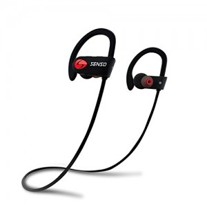 SENSO Bluetooth Headphones, Best Wireless Sports Earphones w/ Mic IPX7 Waterproof HD Stereo Sweatproof Earbuds for Gym Running Workout 8 Hour Battery Noise Cancelling Headsets